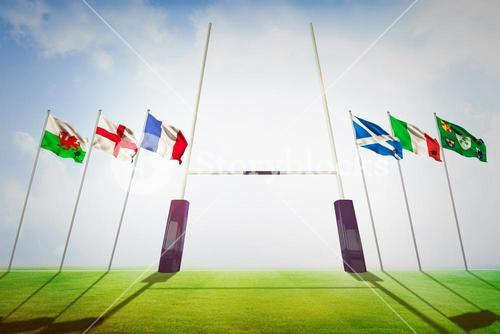 Composite image of rugby pitch
