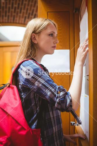 Pretty student looking at notice-board