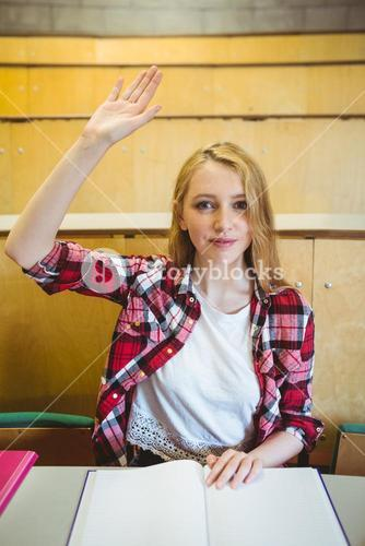 Blonde student raising hand during class