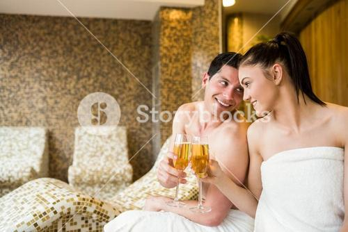 Couple relaxing in the thermal suite