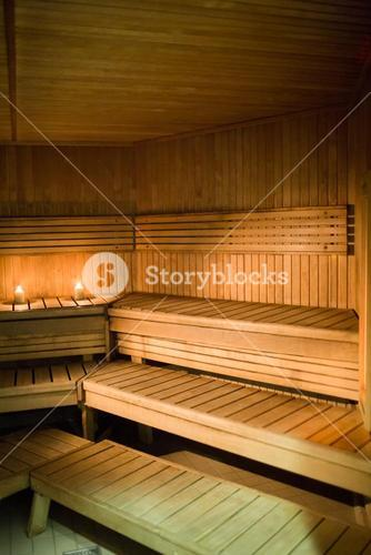 Candles lighting in a sauna