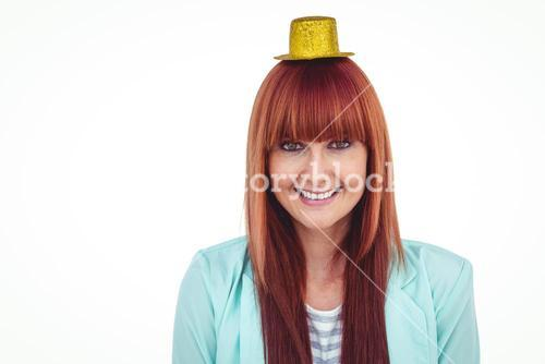 Smiling hipster woman wearing hat party