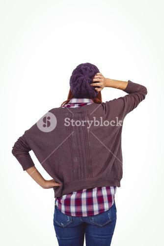 Rear view of a hipster woman