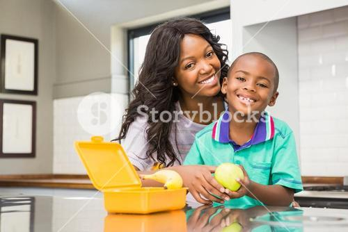 Smiling mother preparing sons school lunch