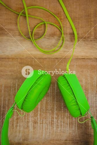 View of a green headphone