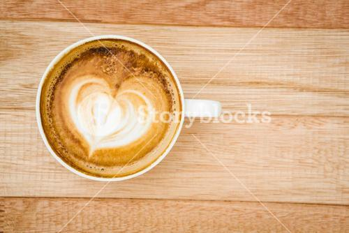 View of a heart composed of coffee
