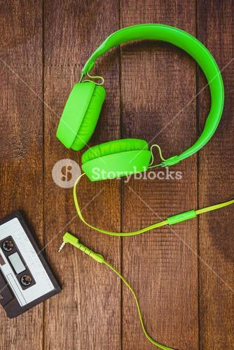 Close up view of old tape and headphone