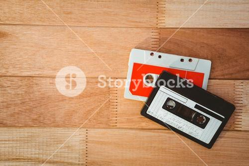 Close up view of old tapes
