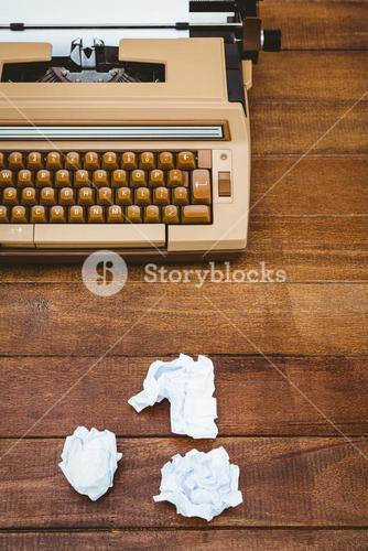 View of an old typewriter and paper