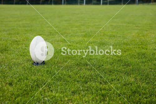 Rugby ball on the pitch