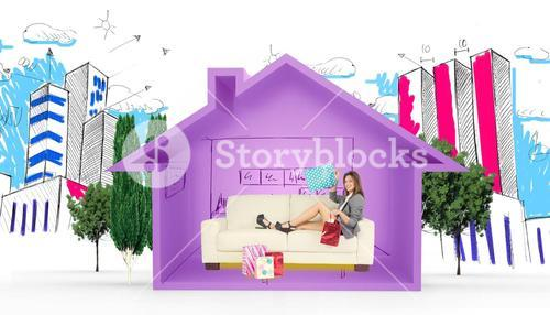 Composite image of woman lying on couch with shopping bags