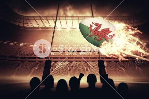 Composite image of silhouettes of football supporters