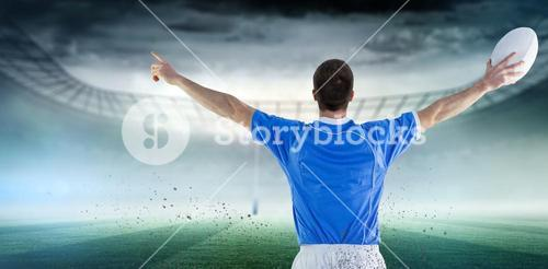 Composite image of rugby player gesturing with hands