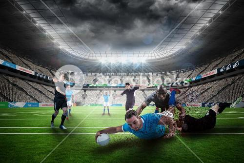 Composite image of rugby player doing a drop kick