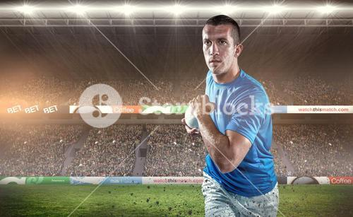 Composite image of rugby player running with ball