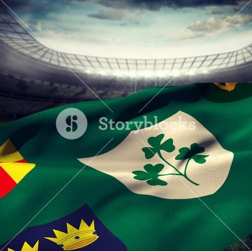 Composite image of flag of the irfu with the centenary logo