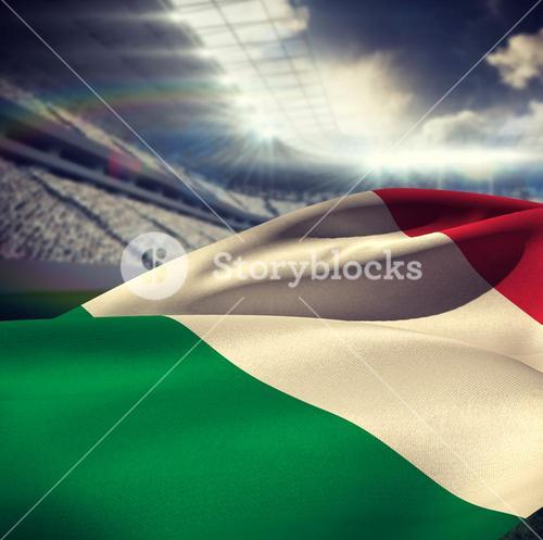 Composite image of itlay flag waving in wind