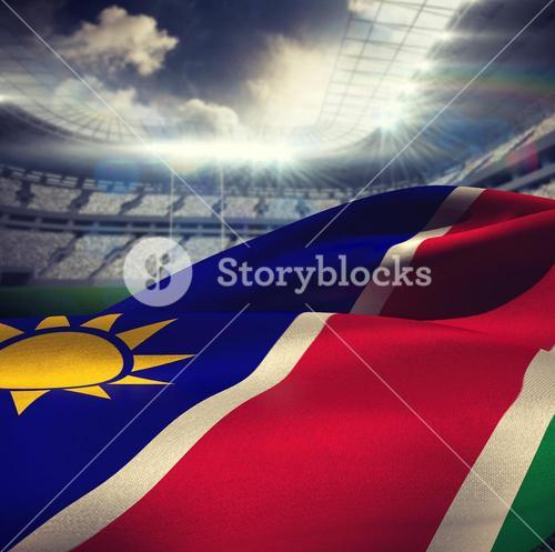Composite image of close-up of namibia flag waving