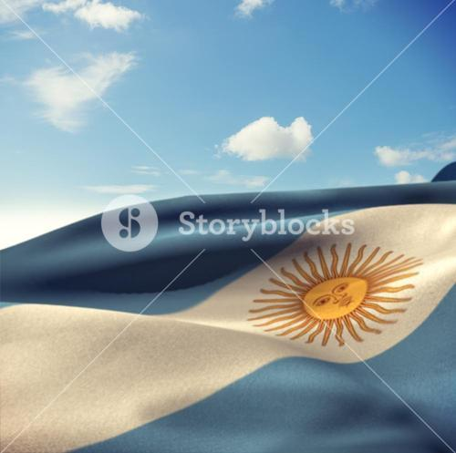 Composite image of argentina flag waving in wind