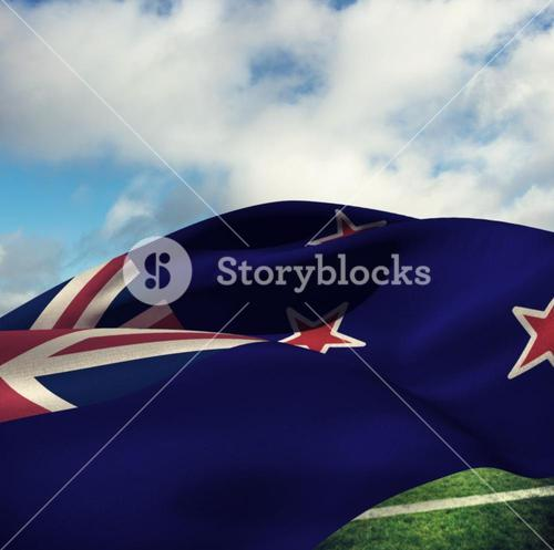 Composite image of waving flag of new zealand