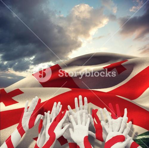 Composite image of people raising hands in the air