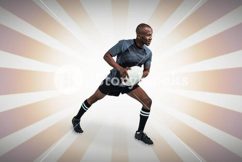 Composite image of athlete taking position to throw rugby ball