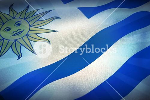 Composite image of cropped flag of uruguay