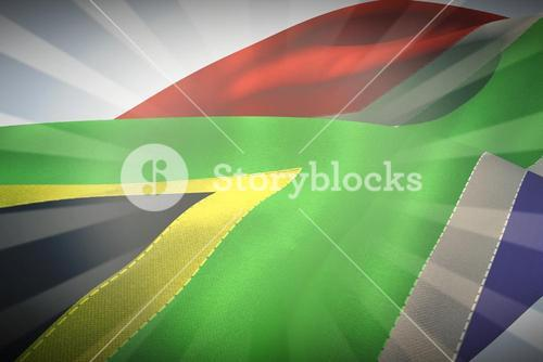 Composite image of waving flag of south africa