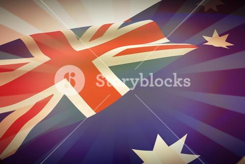 Composite image of low angle view of australian flag