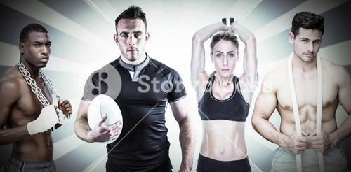 Composite image of fit people