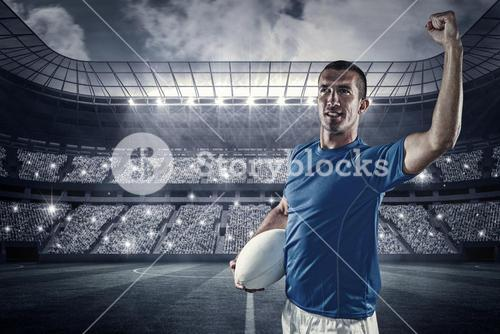 Composite image of confident rugby player flexing muscles