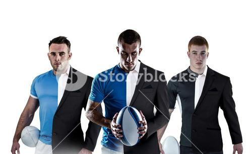 Composite image of rugby player looking at camera