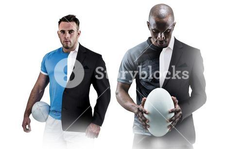 Composite image of thoughtful athlete looking at rugby ball