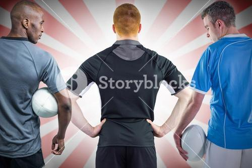 Composite image of tough rugby players