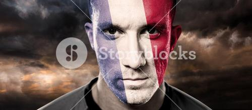 Composite image of french rugby player