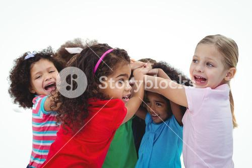 Small group of girls huddled together