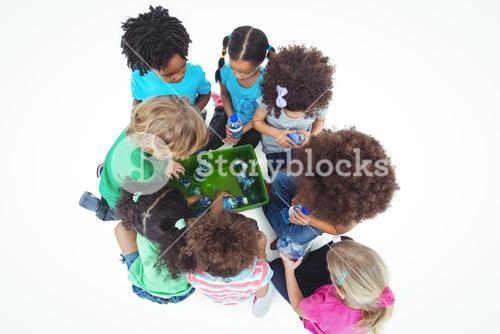 Group of kids with bottles of water