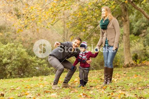 Young couple pointing something to their little boy