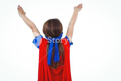 Masked girl pretending to be superhero