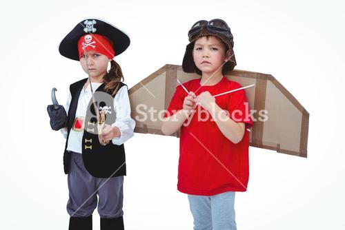 Masked kids pretending to be pirate and pilot