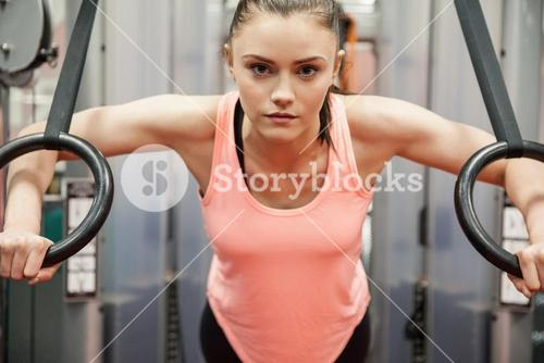 Woman focused and working out
