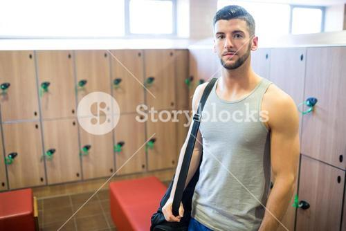 Man getting ready to hit the gym