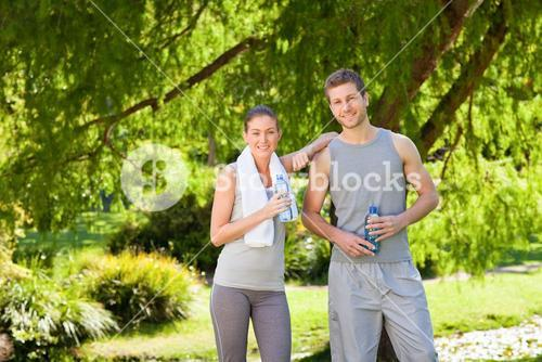 Sporty lovers in the park