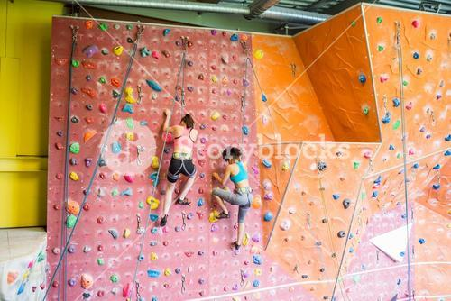 Fit women rock climbing indoors