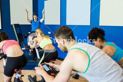 Fit people in a spin class