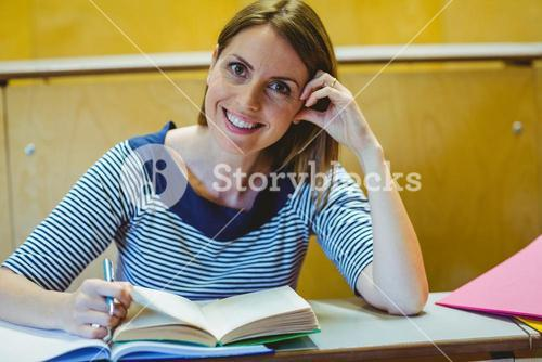 Mature student in lecture hall