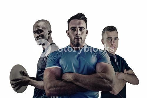 Group of Tough rugby players