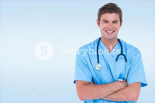 Composite image of young nurse in blue tunic with arms crossed
