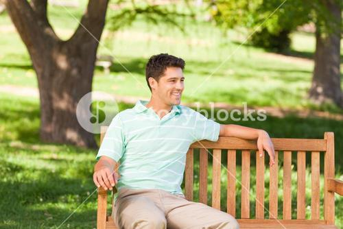 Handsome man on the bench
