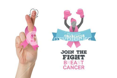 Composite image of crossed fingers with breast cancer ribbon